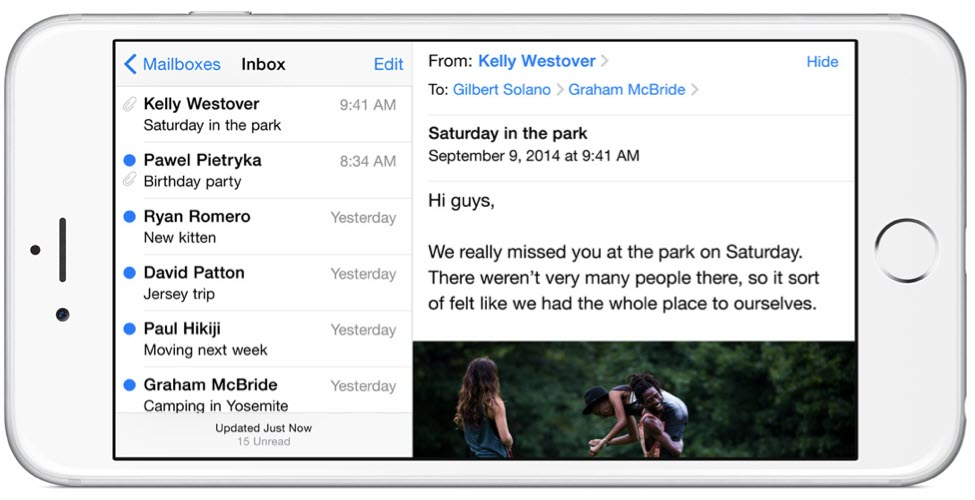iPhone 6 Plus landscape email آیفون ۶ (عکس ها)